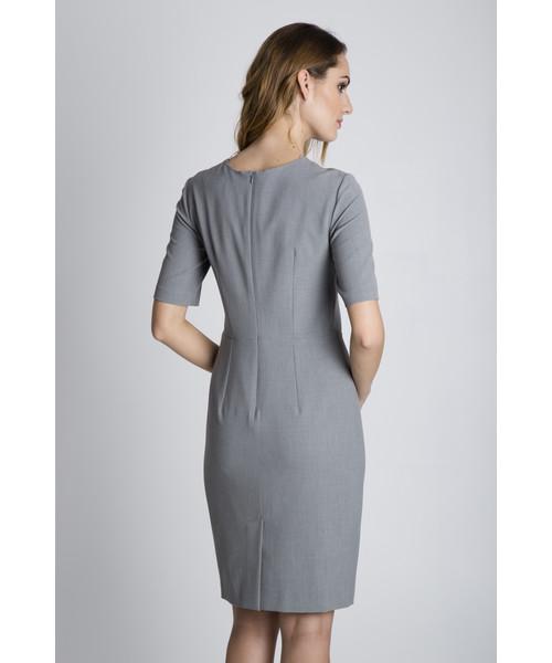 78612e4481 Sukienka Bialcon Szara dopasowana sukienka z krótkim rękawem