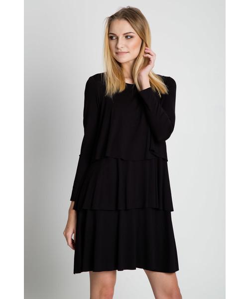 1b21e099ba Sukienka Bialcon Czarna rozkloszowana sukienka z długim rękawem