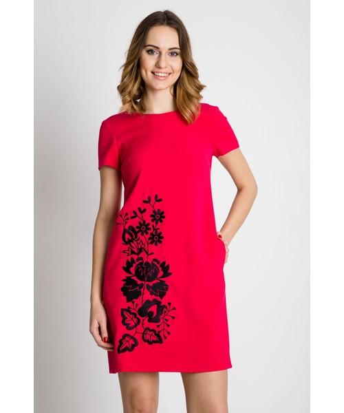 823e3e8e55 Sukienka Bialcon Czerwona sukienka z krótkim rękawem