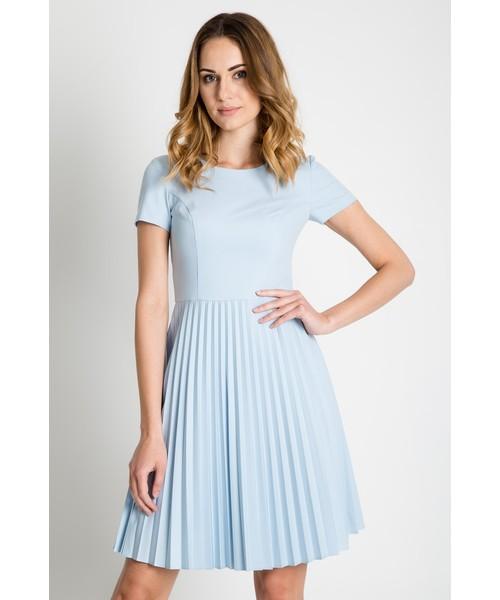31f8f66fec Sukienka Bialcon Błękitna sukienka z plisowanym dołem