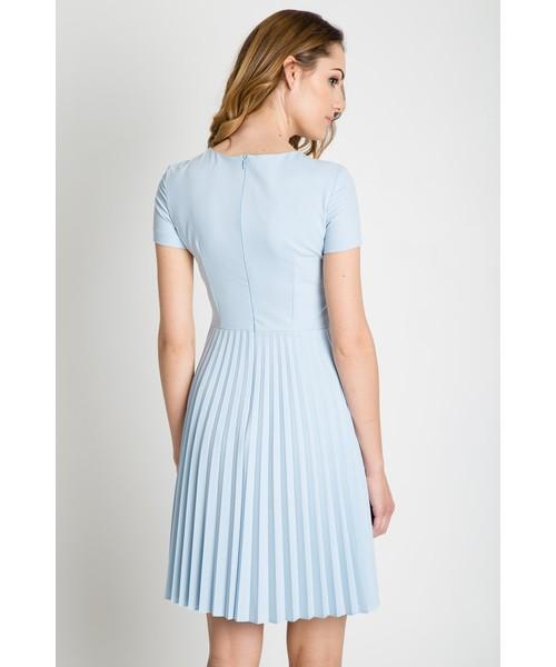 a262dc5b6a Sukienka Bialcon Błękitna sukienka z plisowanym dołem