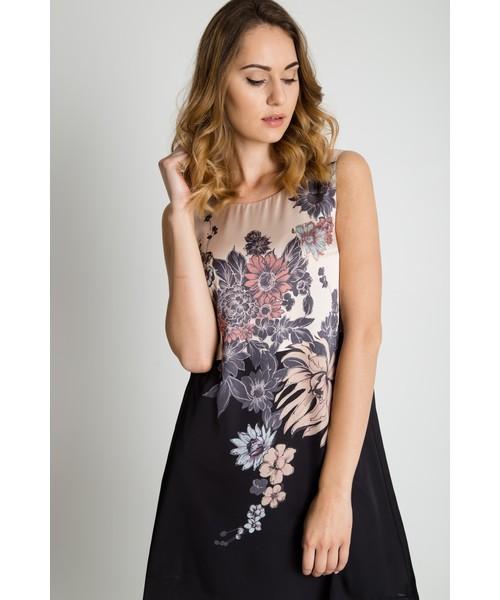 3caa7d1639 Sukienka Bialcon Prosta sukienka bez rękawów z kwiatową aplikacją