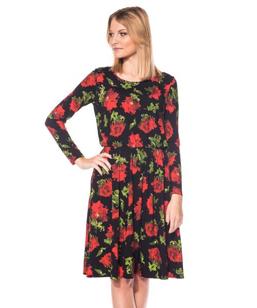 d92986f9f3 Sukienka Bialcon Sukienka w kwiatki lekko marszczona w talii