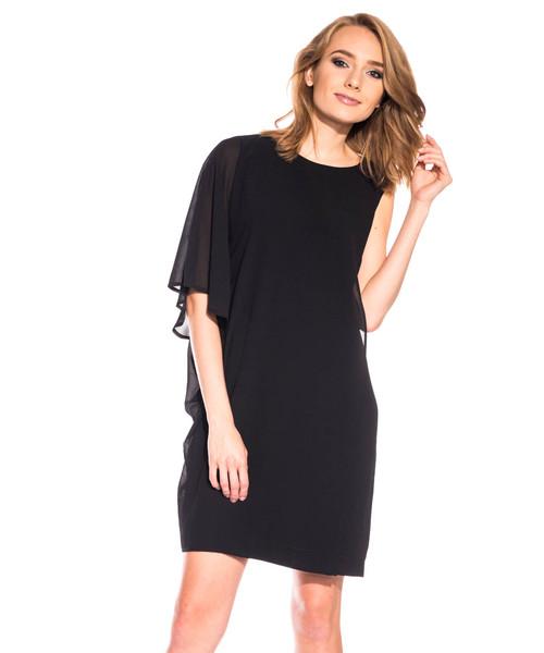 28b9ddd300f0d4 Bialcon Asymetryczna czarna sukienka z szerokim rękawem, sukienka ...
