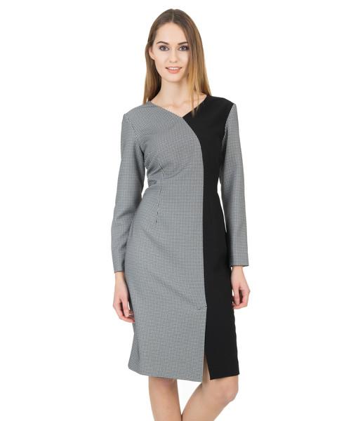 cffc7d5a sukienka Bialcon Asymetryczna sukienka z długim rękawem