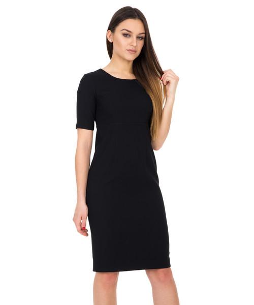 766041b3a5 Sukienka Bialcon Czarna sukienka z krótkim rękawem