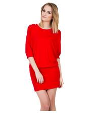 Sukienka Czerwona dzianinowa sukienka z ozdobami na ramionach - Bialcon.pl Bialcon