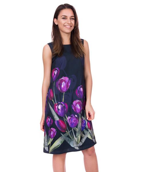 837045c5d7 Sukienka Bialcon Długa sukienka w kwiaty bez rękawów