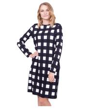 Sukienka Długa sukienka w kratę z rękawem 3/4 - Bialcon.pl Bialcon