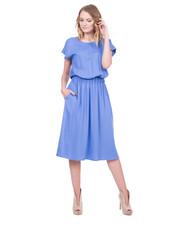 Sukienka Długa niebieska sukienka z krótkim rękawem - Bialcon.pl Bialcon