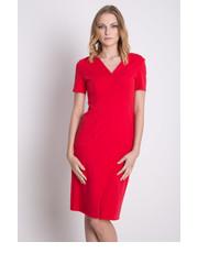 Sukienka Dopasowana czerwona sukienka z dekoltem w literkę V - Bialcon.pl Bialcon