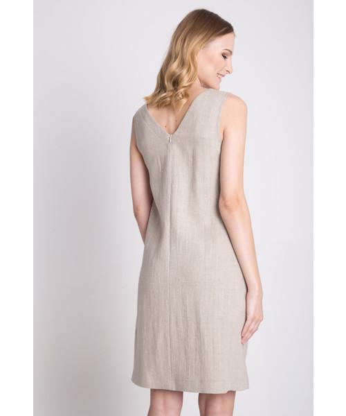 ca3b2e37f6 Sukienka Bialcon Luźna beżowa lniana sukienka bez rękawów
