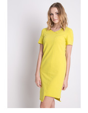 Sukienka Dresowa sukienka z asymetrycznym dołem i krótkim rękawem - Bialcon.pl Bialcon
