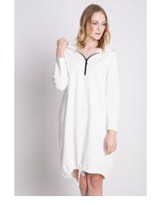 Sukienka Luźna dresowa sukienka z kapturem w kolorze białym - Bialcon.pl Bialcon