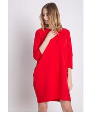 Sukienka Dresowa czerwona sukienka z rękawem 3/4 - Bialcon.pl Bialcon