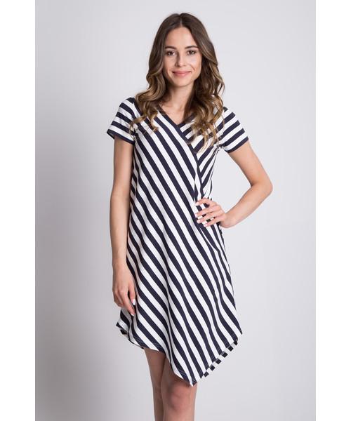 49964a16 sukienka Bialcon Dzianinowa asymetryczna sukienka w paski