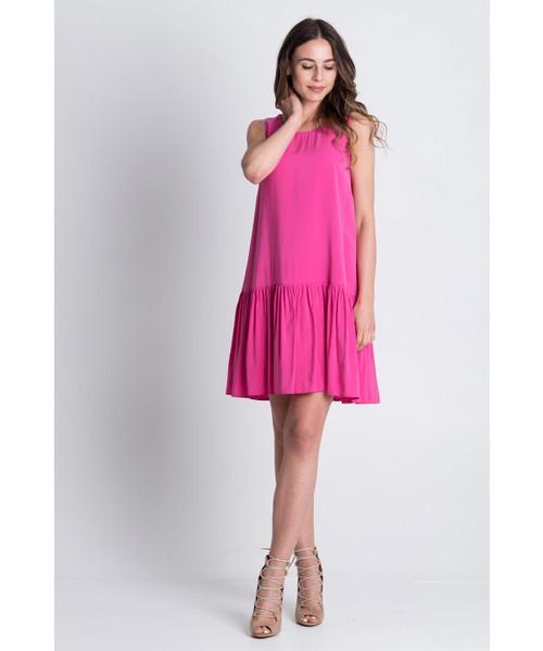 cc8a5d0d00 Sukienka Bialcon Różowa sukienka bez rękawów z szeroką falbaną