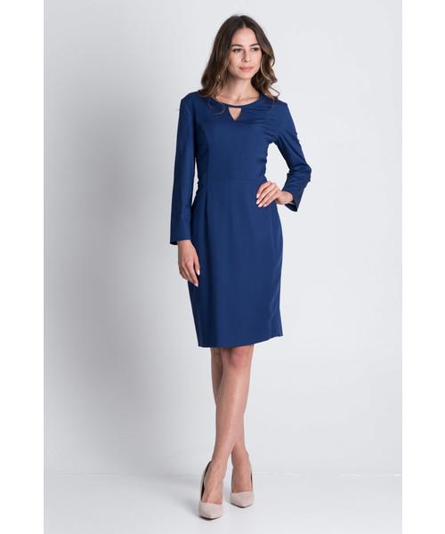 sukienka Bialcon Elegancka sukienka z długim rękawem odcięta w talii