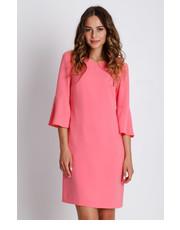 sukienka Bialcon - Pudrowa sukienka mini z podszewką