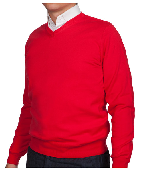 c78e741aff02 Sweter męski Lancerto Sweter Bawełniany Matt Czerwony