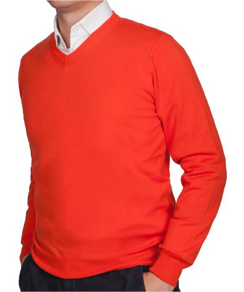 262d39732977 Sweter męski Lancerto Sweter Bawełniany Matt Pomarańczowy