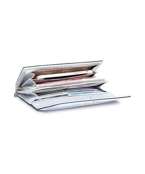 14034eb479304 Portfel Nucelle Długi skórzany damski portfel Jasnoniebieski