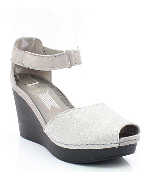 c3821d30 Lemar 50033 SZARY- SREBRNY - Sandały na koturnie, skóra, sandały ...