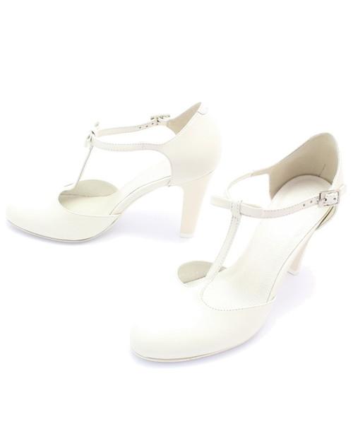 62d1932a Kotyl 5871 ECRU - Skórzane buty ślubne doskonałe do tańca, czółenka ...