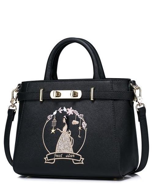 68f0a06ceab9c Torebka Just Star Dziewczęca torebka do ręki z wizerunkiem księżniczki  Czarna