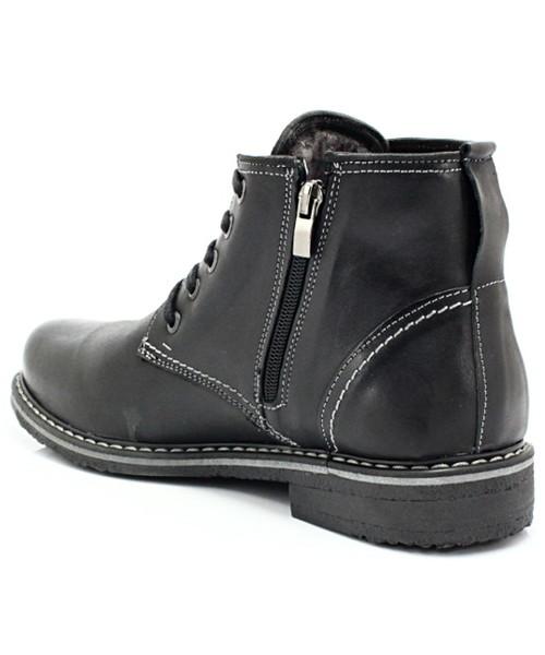 ca276fc4 Kozaki męskie Kent 238 CZARNY - Skórzane buty zimowe ocieplone naturalnym  futrem