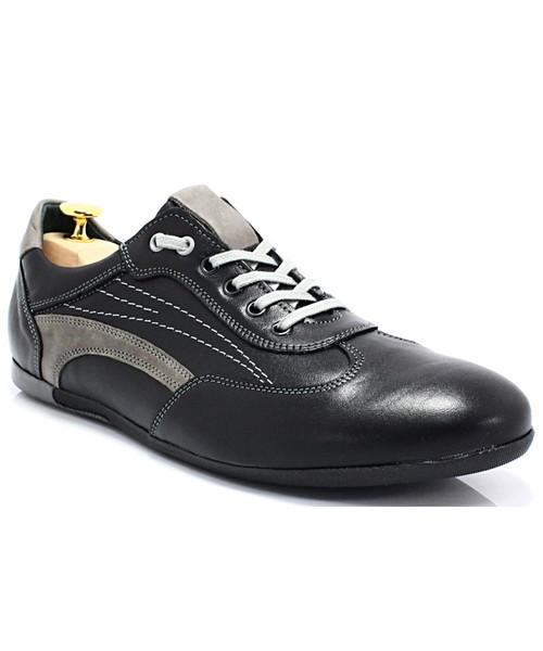 f824d5a57b82b5 Buty sportowe Kent 296 CZARNY-SZARY - Sportowo eleganckie skórzane buty