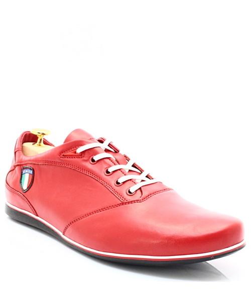 cc92a082 Buty sportowe Kent 511I CZERWONE - Skórzane buty męskie sportowe casual