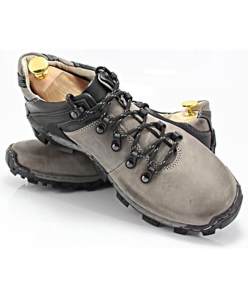0a0bedee Trapery męskie Kent 116 SZARE - Trekkingowe buty męskie 100% skórzane