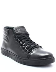b98d72b61f93b Kent 304 CZARNY+CZERWONY - Skórzane trampki za kostkę, buty sportowe ...
