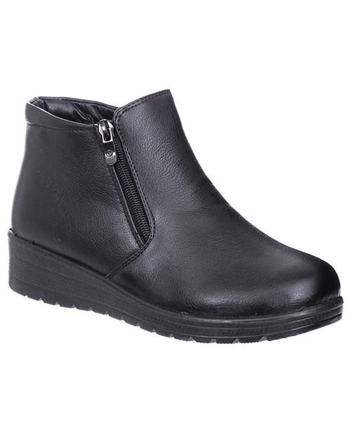 57a7bc2ed7309 Family Shoes PÓŁBUTY DAMSKIE CZARNE OCIEPLANE, botki - Butyk.pl