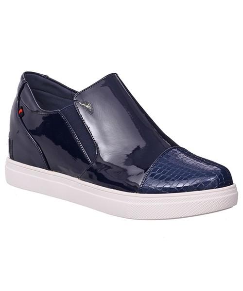 eda8fdb21070 Półbuty Family Shoes PÓŁBUTY NA KOTURNIE GRANATOWE
