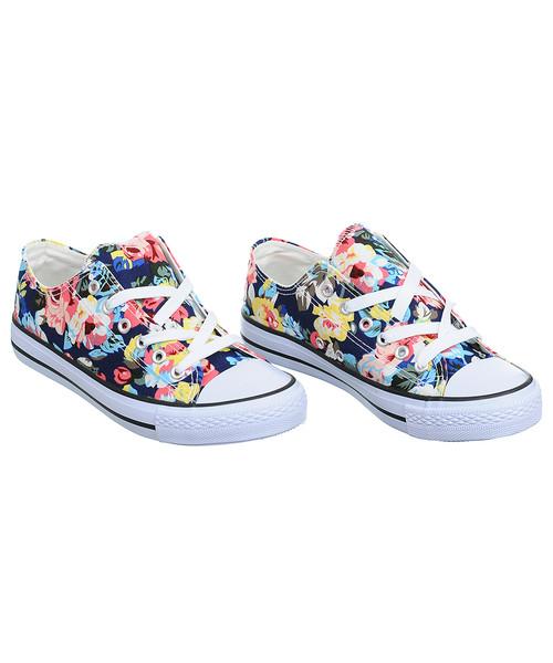 trampki damskie Family Shoes Trampki damskie w kwiatki granatowe