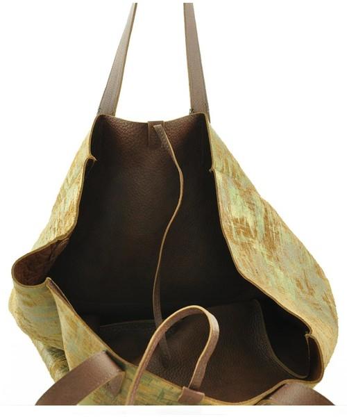 89faa59b07033 Shopper bag Verso Torebka damska skórzana 4013-A0G2B Zielono brązowa