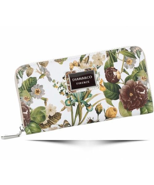 653bd577c8e2b Portfel Diana Co Modny Portfel Damski Firenze wzór Kwiatów Beżowy