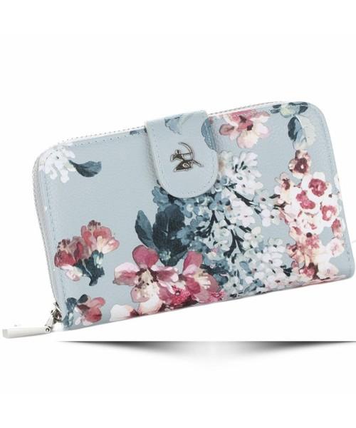 144a95ed8e2d1 Diana&Co Modny Portfel Damski Firenze wzór Kwiatów Szary, portfel ...