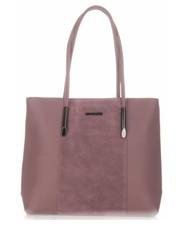 3b2118c4fb185 Shopper bag Diana CoKlasyczne Torebki Damskie Zamsz Naturalny Skóra Eko  firmy Brudny Róż - panitorbalska.pl