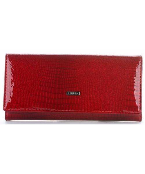 7ae50a1dd5310 Portfel Loren Duży Portfel Damski Skórzany firmy Lakierowany Czerwony