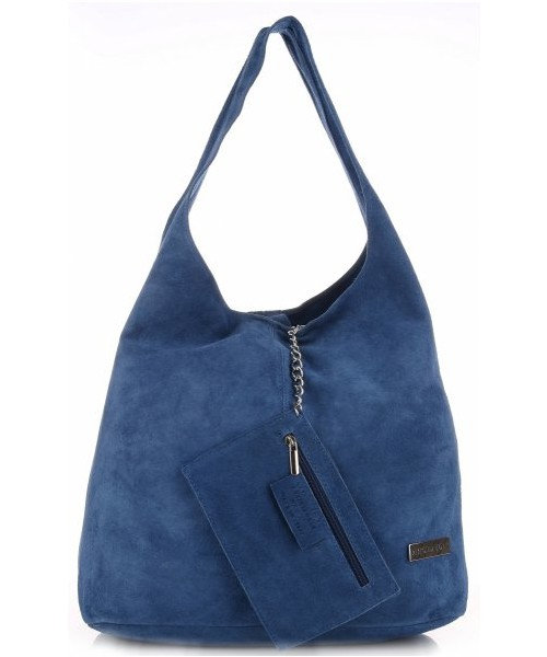 8467c57a0cca2 Torebka skórzana Vittoria Gotti Oryginalne Torby Skórzane XL Shopper Bag z  Etui Zamsz Naturalny Niebieska
