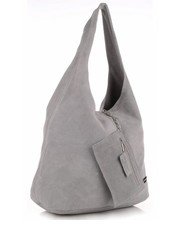 torebka skórzana Vittoria Gotti - Oryginalne Torby Skórzane XL  Shopper Bag z Etui Zamsz Naturalny Jasno Szara