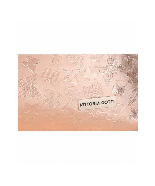 91aca468c1565 Torebka skórzana Vittoria Gotti Elegancka Torebka Skórzana w Motyle Różowe  Złoto
