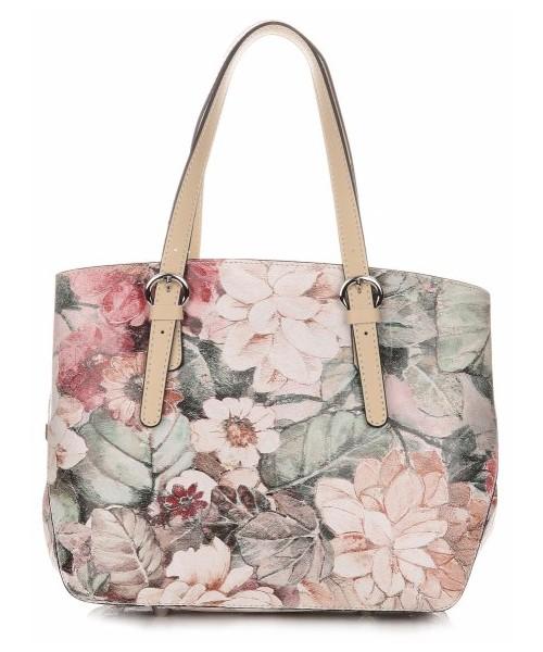 92594ed86bb95 Kuferek Vittoria Gotti Włoskie Torebki Skórzane Kuferki firmy w Kwiaty  Multikolorowe Beżowe
