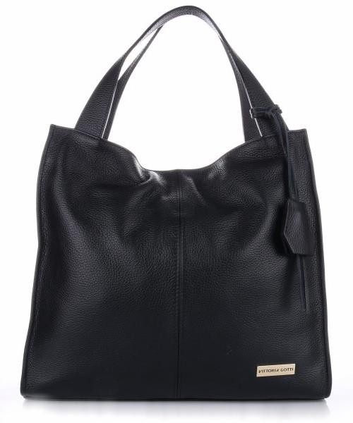 12b9d4e35deb7 Vittoria Gotti Duża Torba Skórzana Shopperbag Czarna, shopper bag ...
