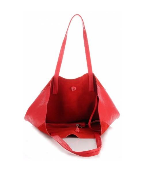 19bd356231734 Shopper bag Vittoria Gotti Włoskie Torebki Skórzane ShopperBag z Etui  Czerwona