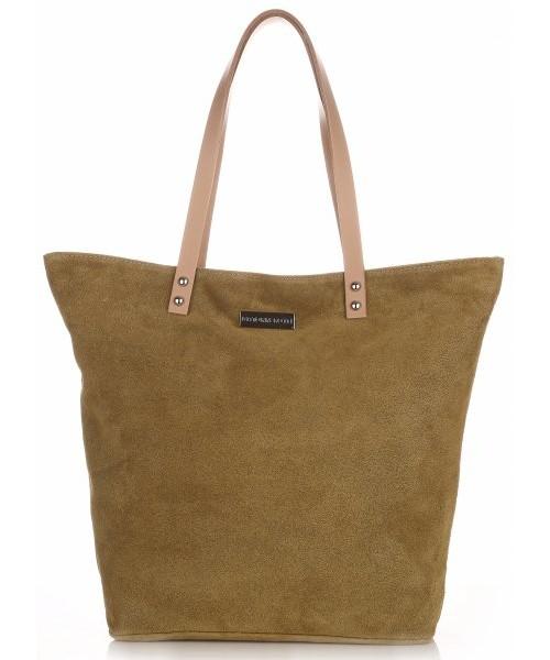 0232d9e095d56 Shopper bag Vittoria Gotti Modne Torebki ze Skóry Naturalnej Zamszowej  Shopper Zielona