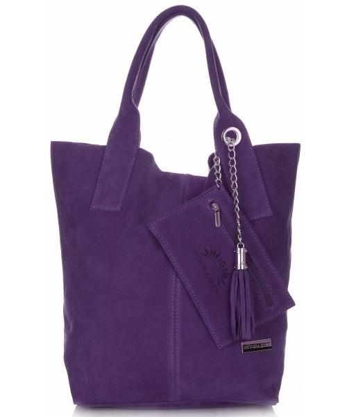 4584eeca47e56 Shopper bag Vittoria Gotti Torebki ze Skóry typu ShopperBag firmy wykonane  z Wysokiej Jakości Zamszu Naturalnego